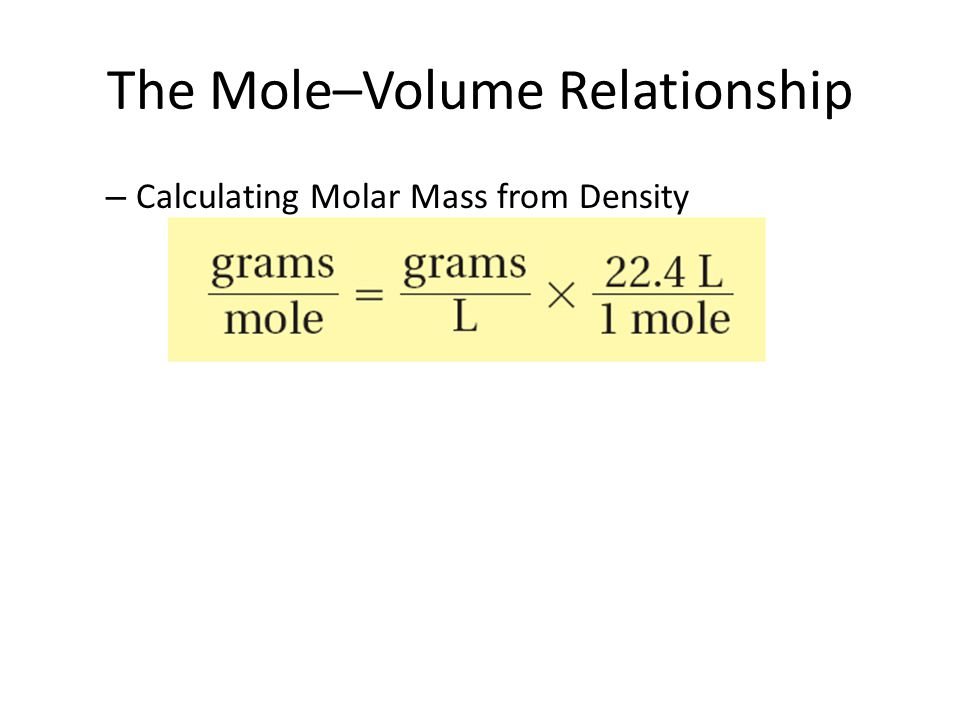 The Mole–Volume Relationship