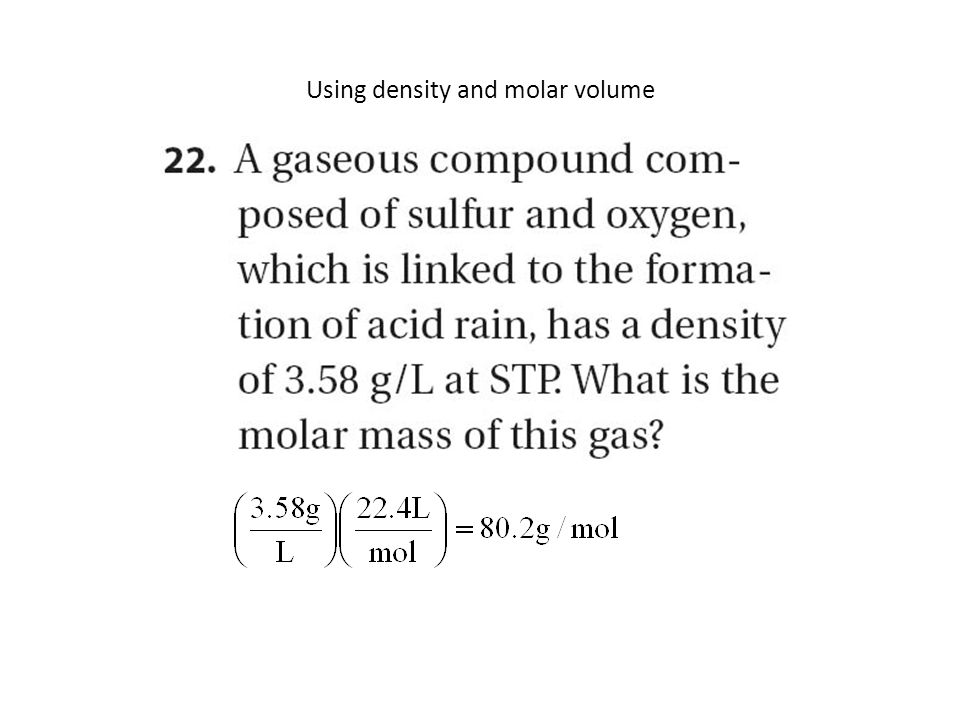 Using density and molar volume