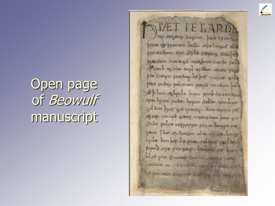 Open page of Beowulf manuscript