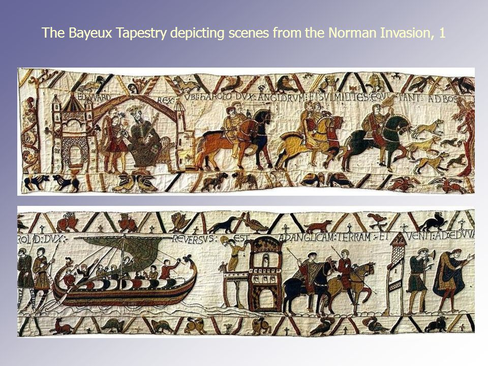 The Bayeux Tapestry depicting scenes from the Norman Invasion, 1
