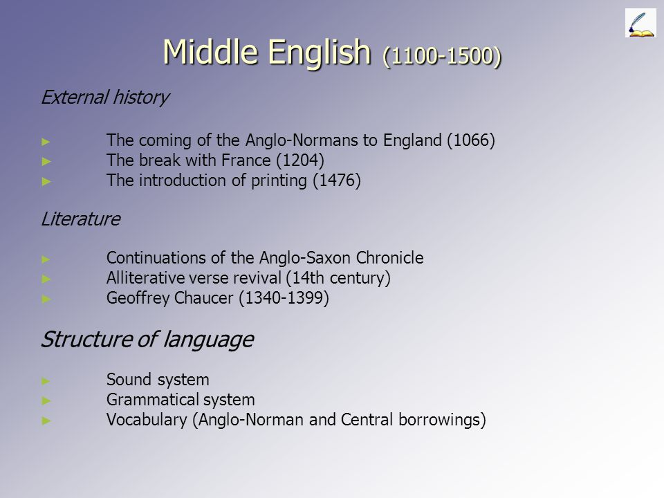 Middle English (1100-1500) Structure of language External history