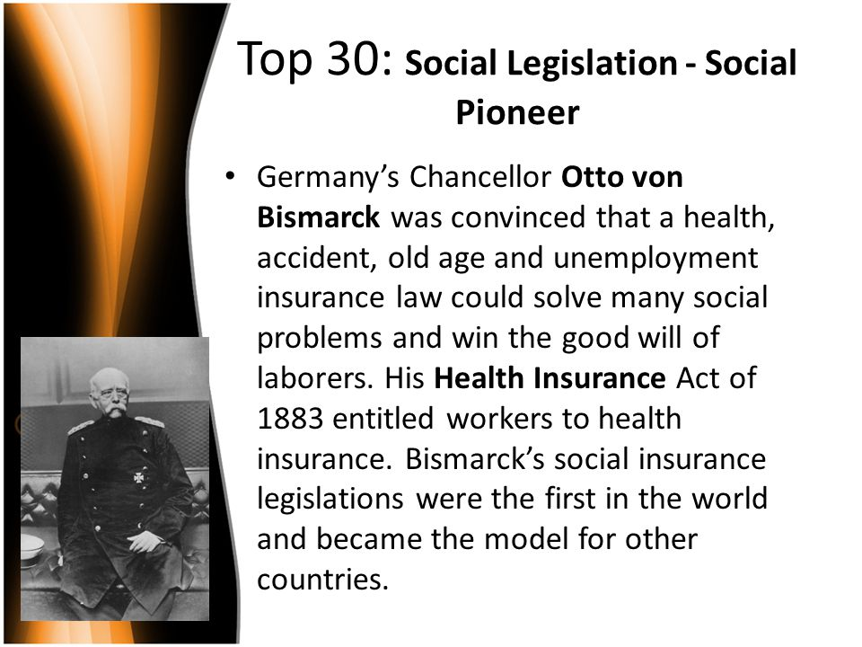 Top 30: Social Legislation - Social Pioneer