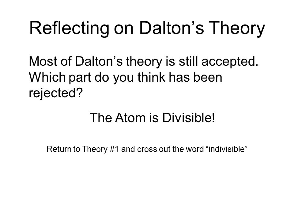 Reflecting on Dalton's Theory