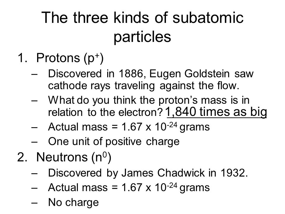 The three kinds of subatomic particles