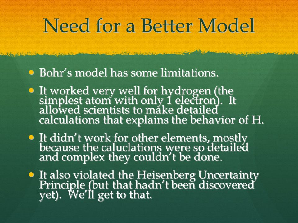 Need for a Better Model Bohr's model has some limitations.