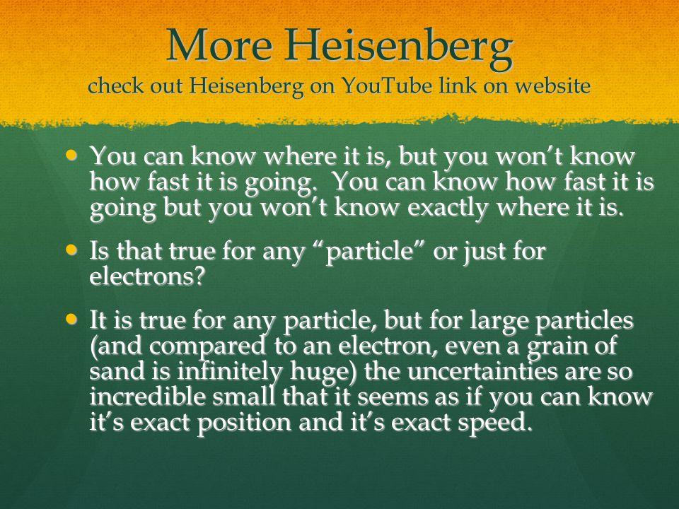 More Heisenberg check out Heisenberg on YouTube link on website