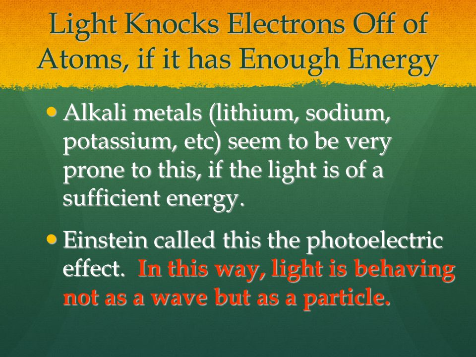 Light Knocks Electrons Off of Atoms, if it has Enough Energy