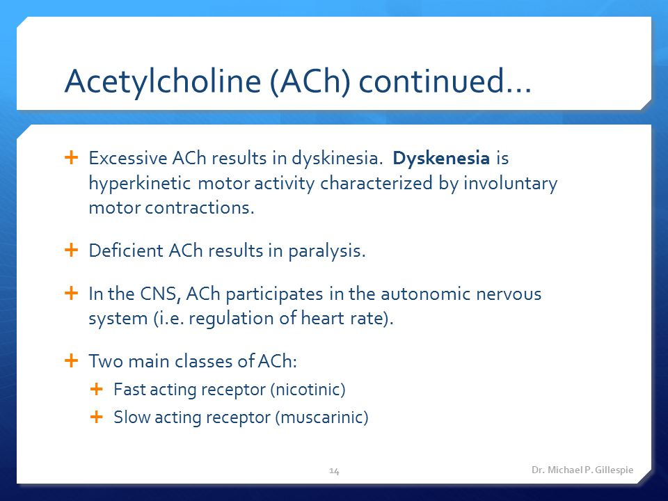 Acetylcholine (ACh) continued…