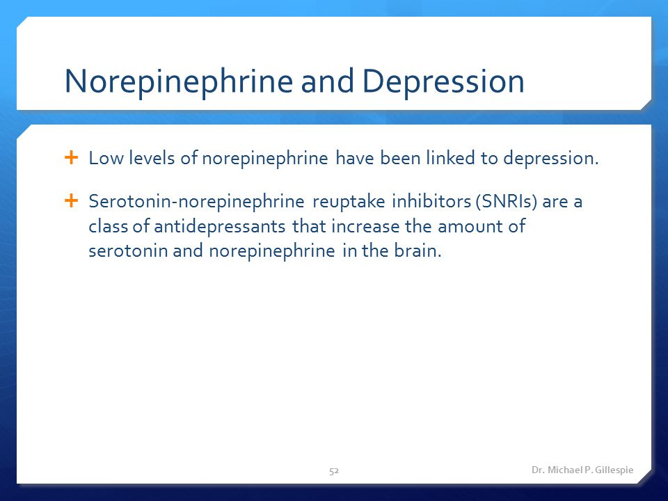Norepinephrine and Depression