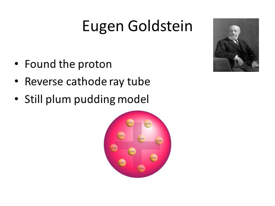 Eugen Goldstein Found the proton Reverse cathode ray tube