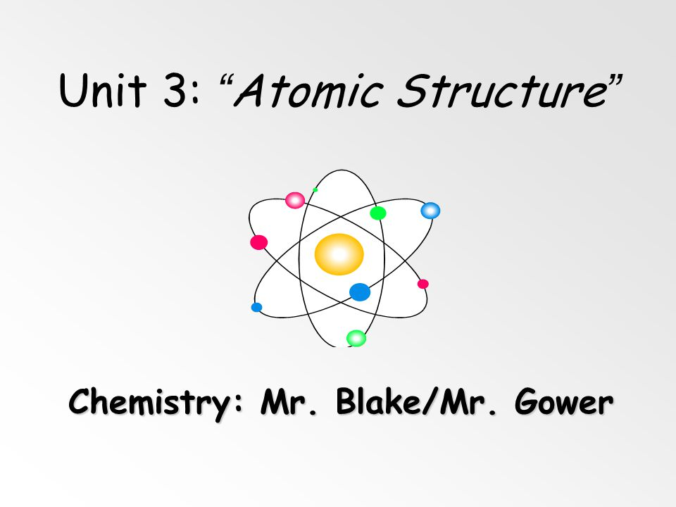 Unit 3: Atomic Structure