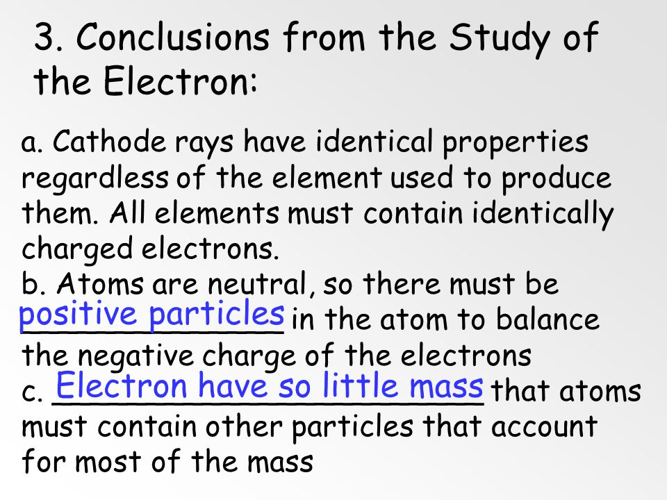 3. Conclusions from the Study of the Electron: