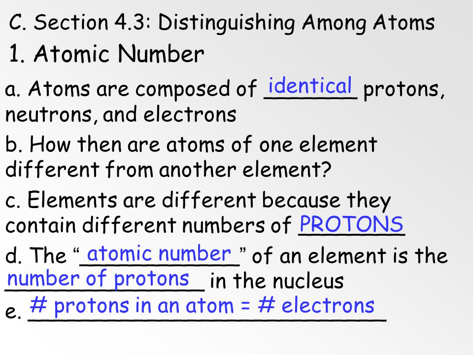 1. Atomic Number C. Section 4.3: Distinguishing Among Atoms identical