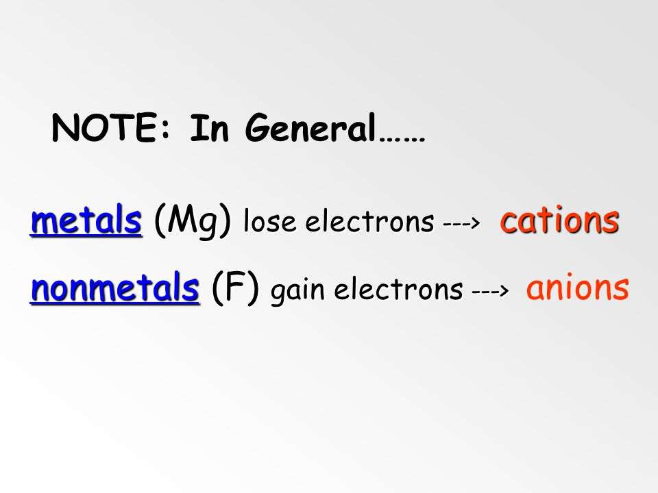 NOTE: In General…… metals (Mg) lose electrons ---> cations.