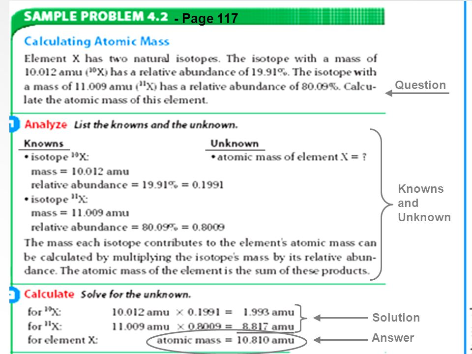 - Page 117 Question Knowns and Unknown Solution Answer