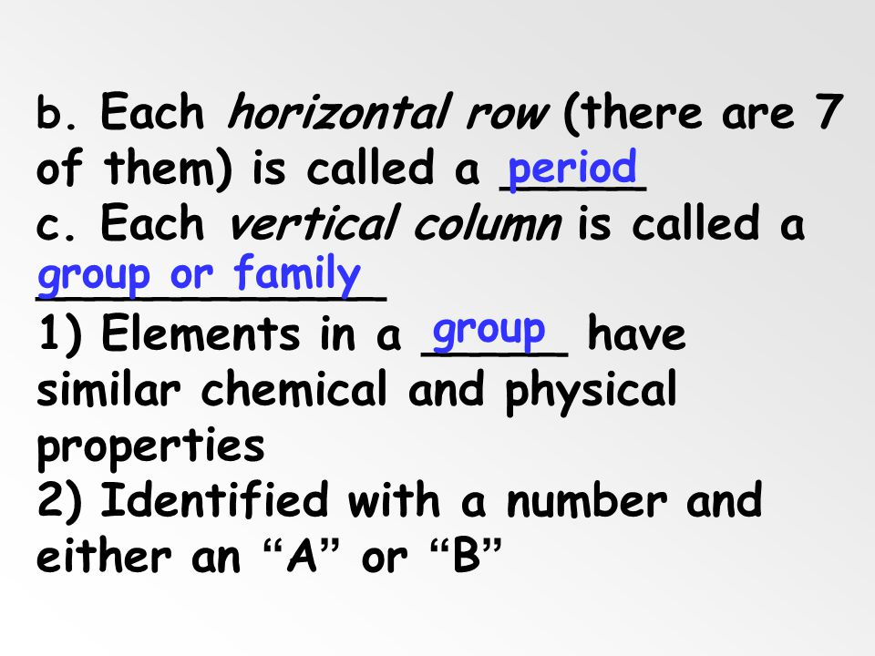 c. Each vertical column is called a ____________