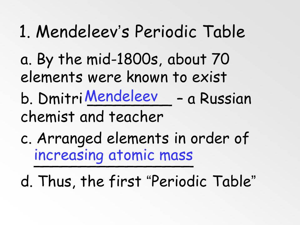 1. Mendeleev's Periodic Table