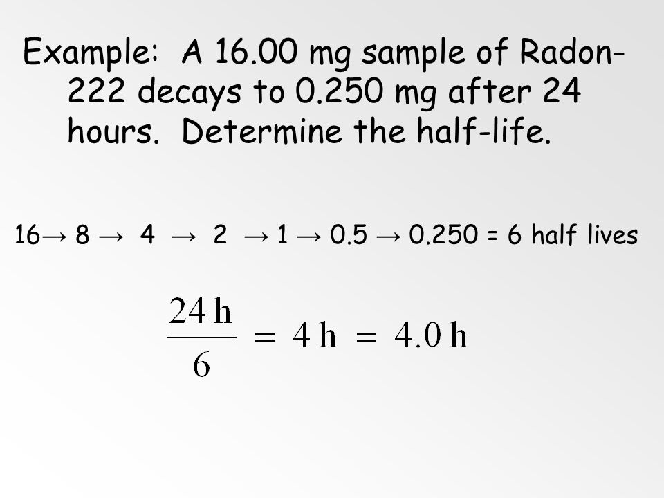 Example: A 16. 00 mg sample of Radon-222 decays to 0