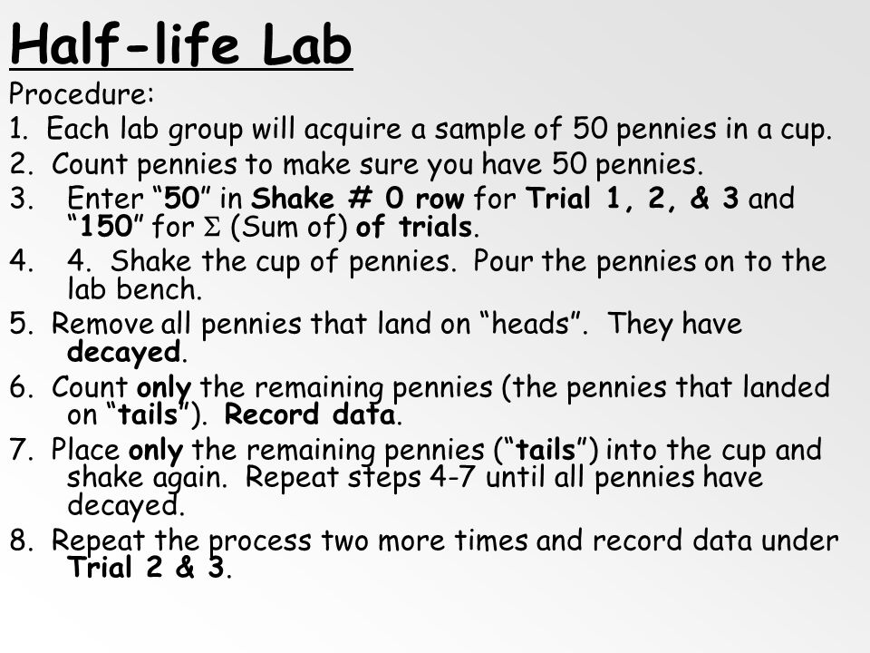 Half-life Lab Procedure: