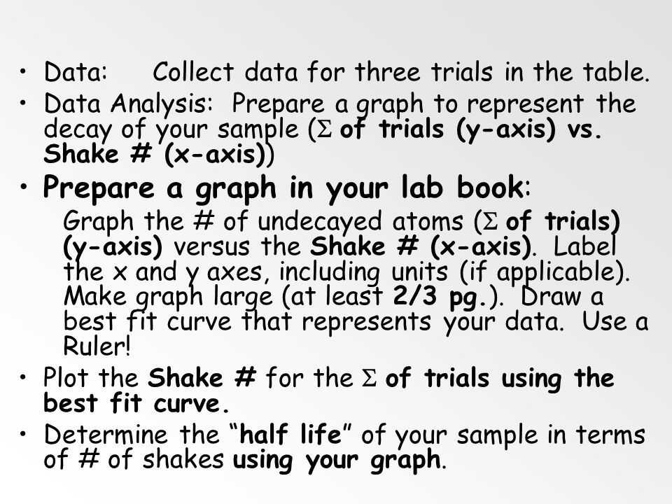 Prepare a graph in your lab book: