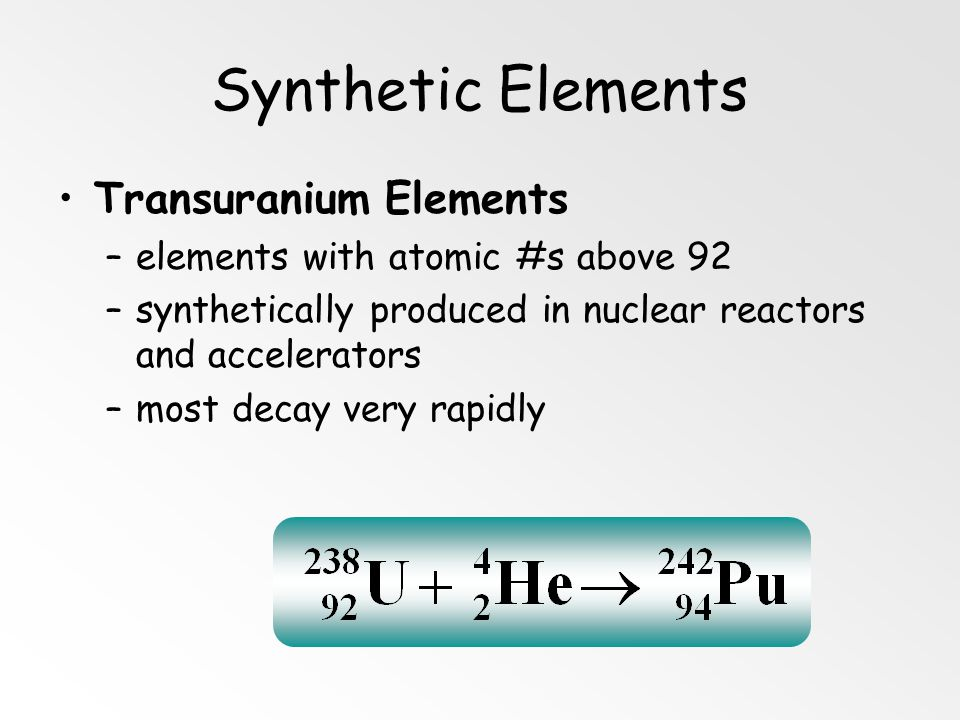 Synthetic Elements Transuranium Elements