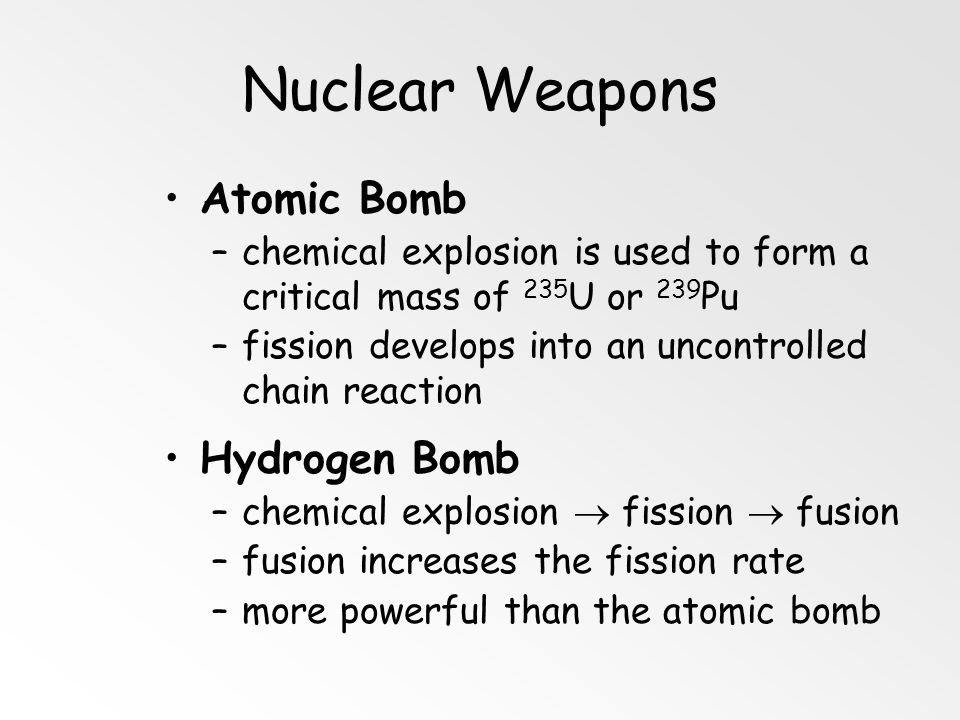 Nuclear Weapons Atomic Bomb Hydrogen Bomb