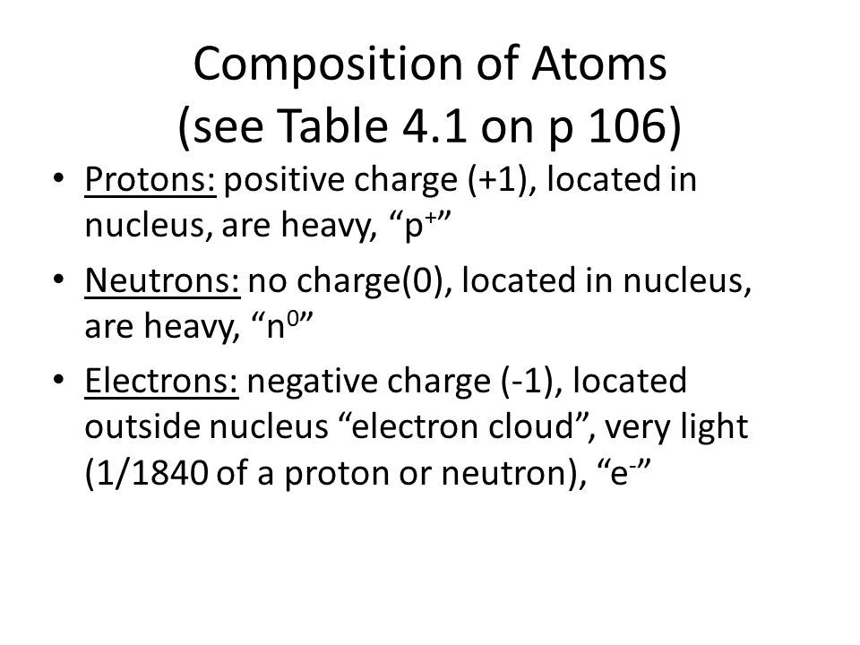 Composition of Atoms (see Table 4.1 on p 106)