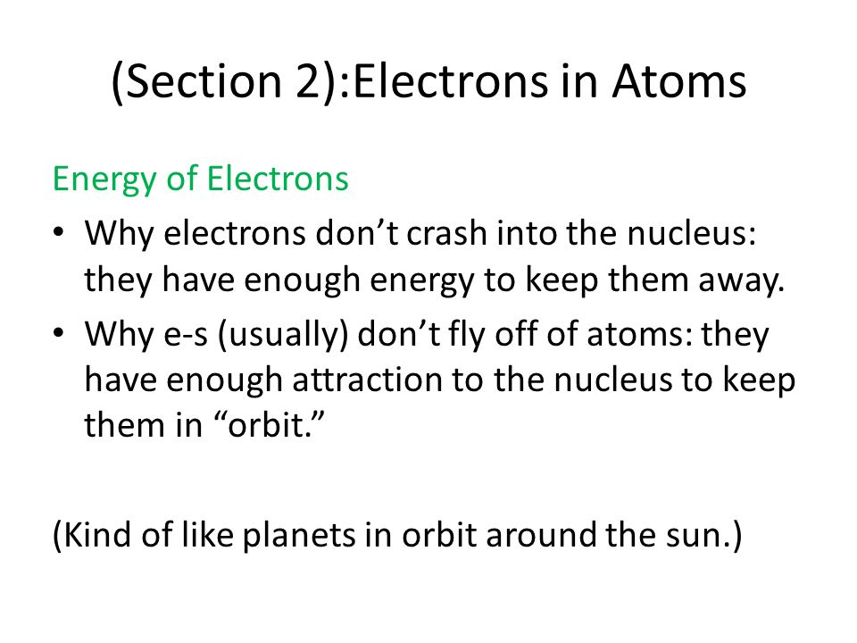 (Section 2):Electrons in Atoms