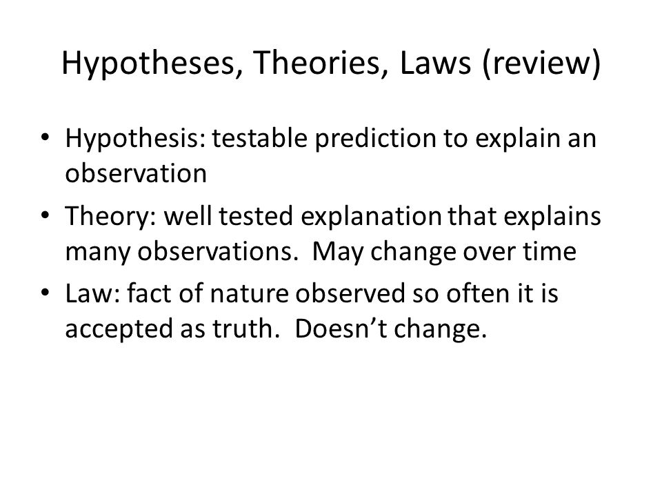 Hypotheses, Theories, Laws (review)