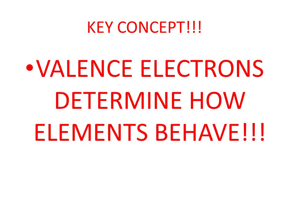 VALENCE ELECTRONS DETERMINE HOW ELEMENTS BEHAVE!!!