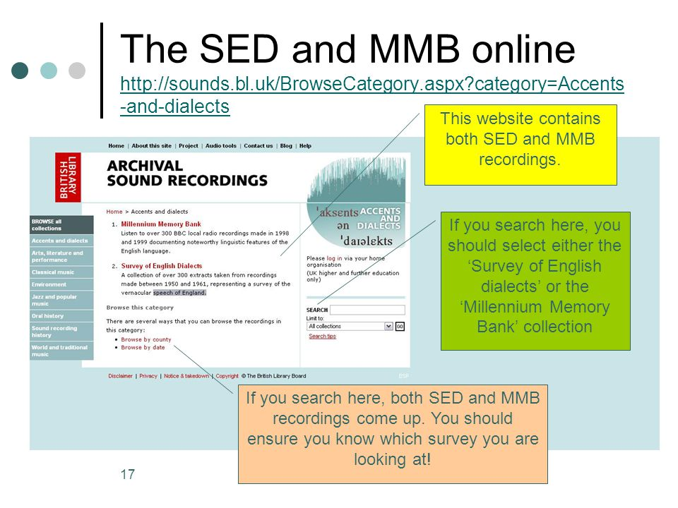 This website contains both SED and MMB recordings.