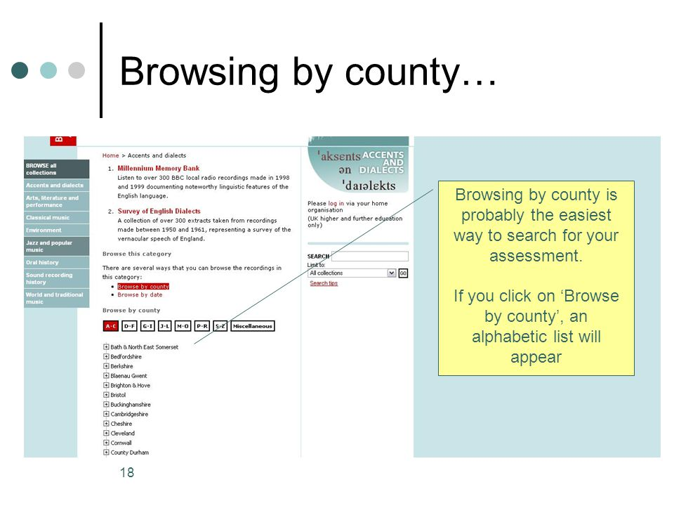 If you click on 'Browse by county', an alphabetic list will appear