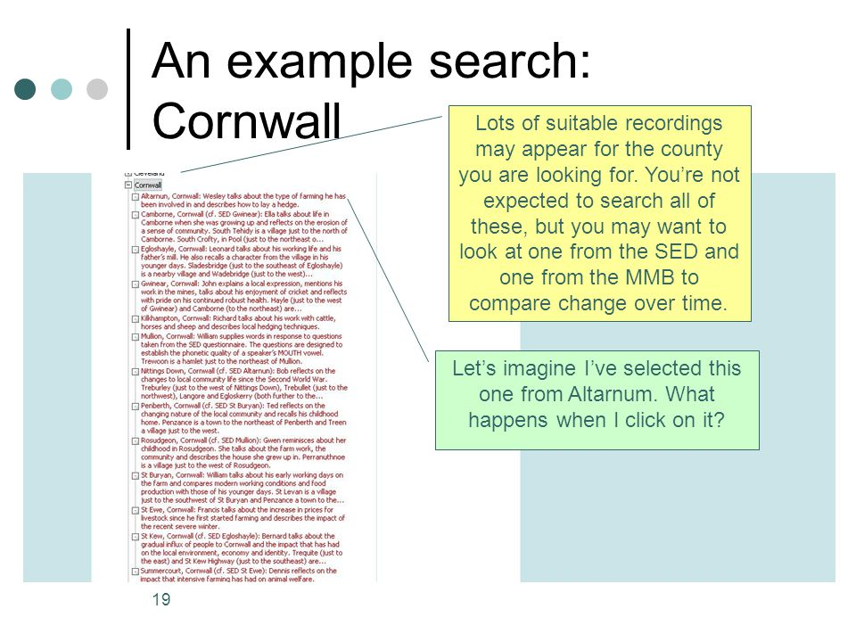 An example search: Cornwall