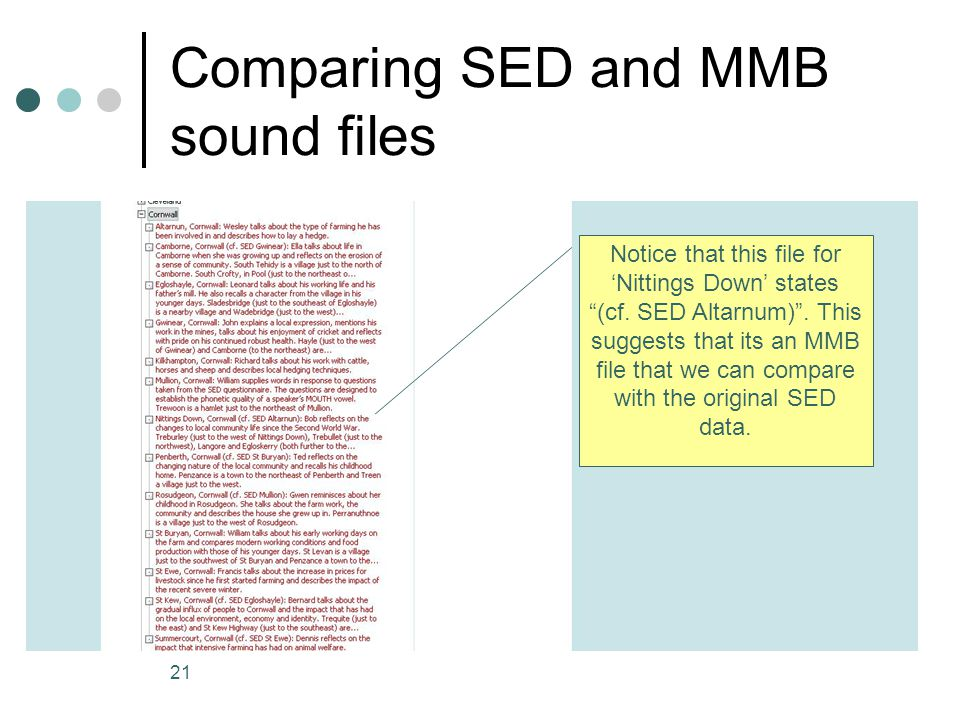 Comparing SED and MMB sound files