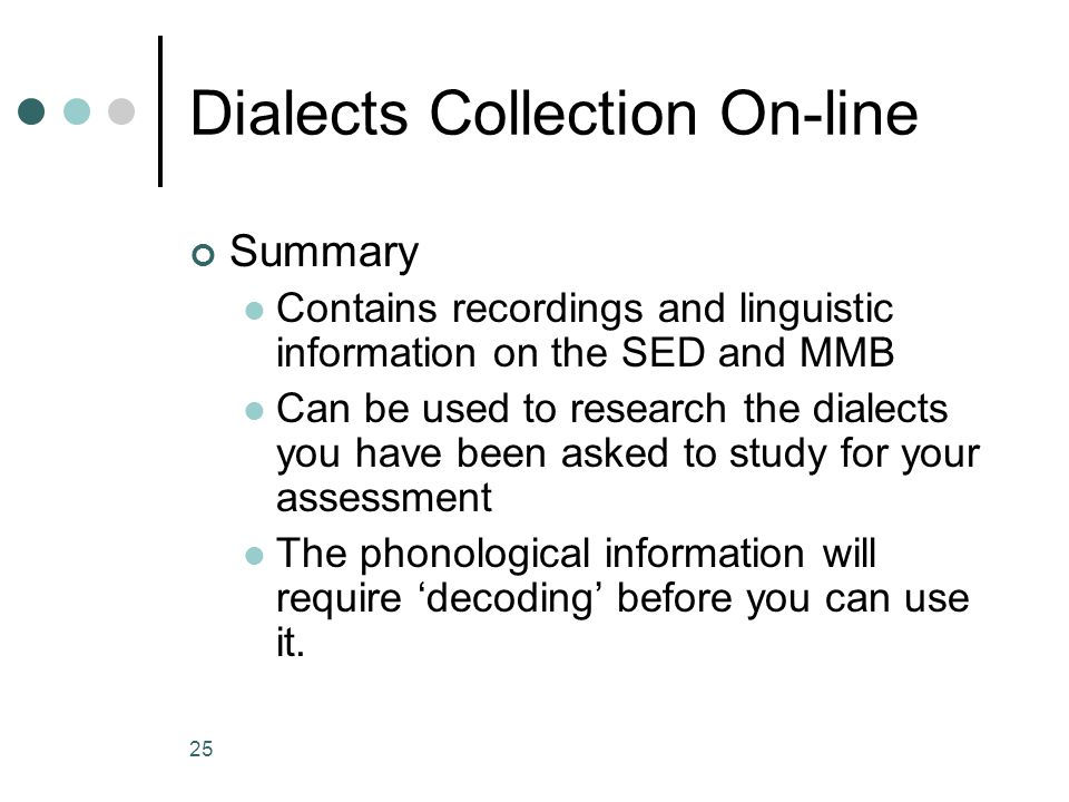 Dialects Collection On-line