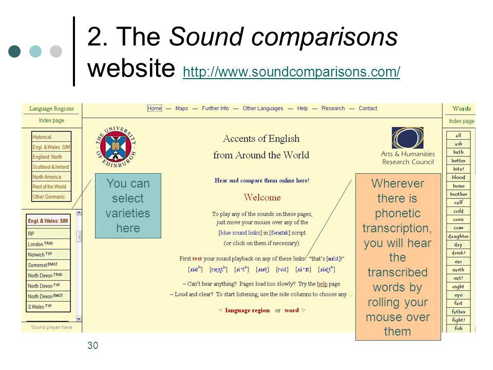 2. The Sound comparisons website http://www.soundcomparisons.com/