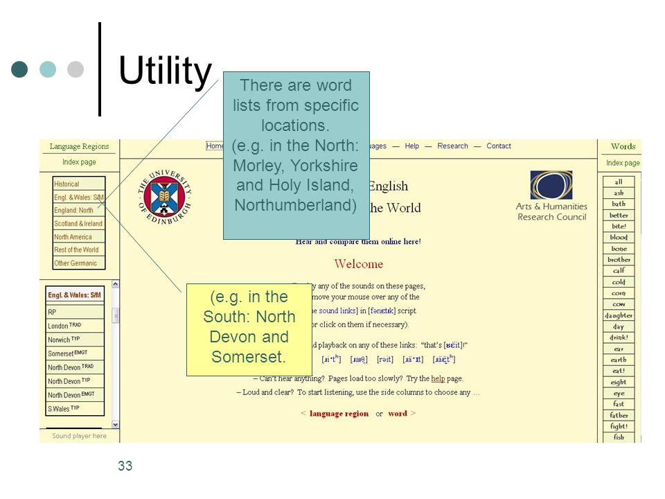 Utility There are word lists from specific locations.