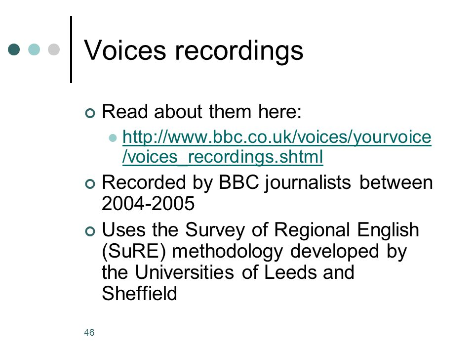 Voices recordings Read about them here: