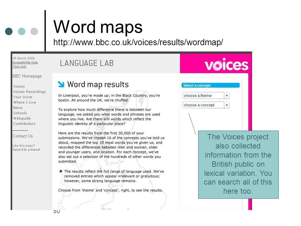 Word maps http://www.bbc.co.uk/voices/results/wordmap/