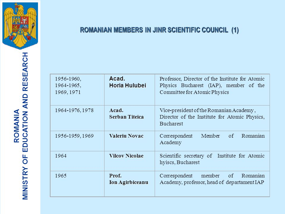 ROMANIAN MEMBERS IN JINR SCIENTIFIC COUNCIL (1)