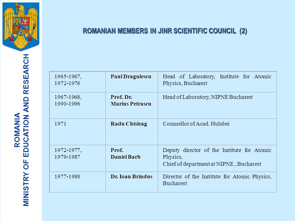 ROMANIAN MEMBERS IN JINR SCIENTIFIC COUNCIL (2)