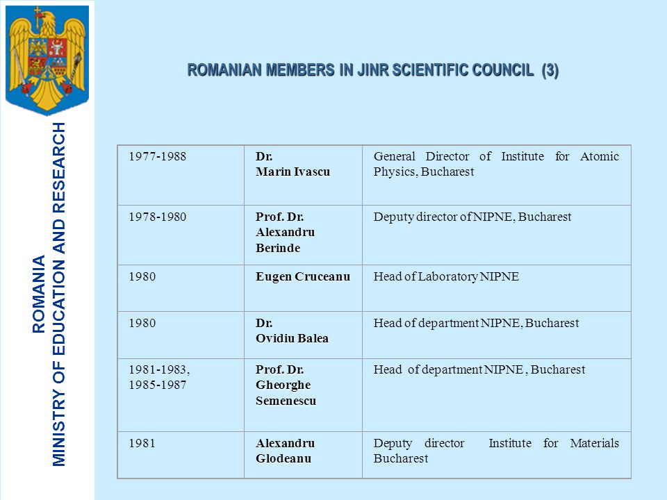 ROMANIAN MEMBERS IN JINR SCIENTIFIC COUNCIL (3)
