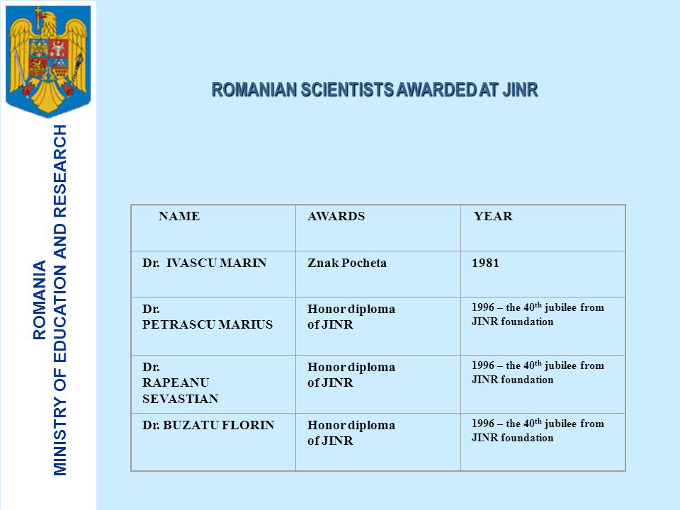 ROMANIAN SCIENTISTS AWARDED AT JINR