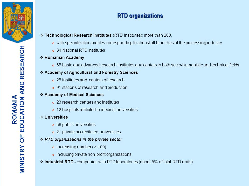 RTD organizations Technological Research Institutes (RTD institutes): more than 200,