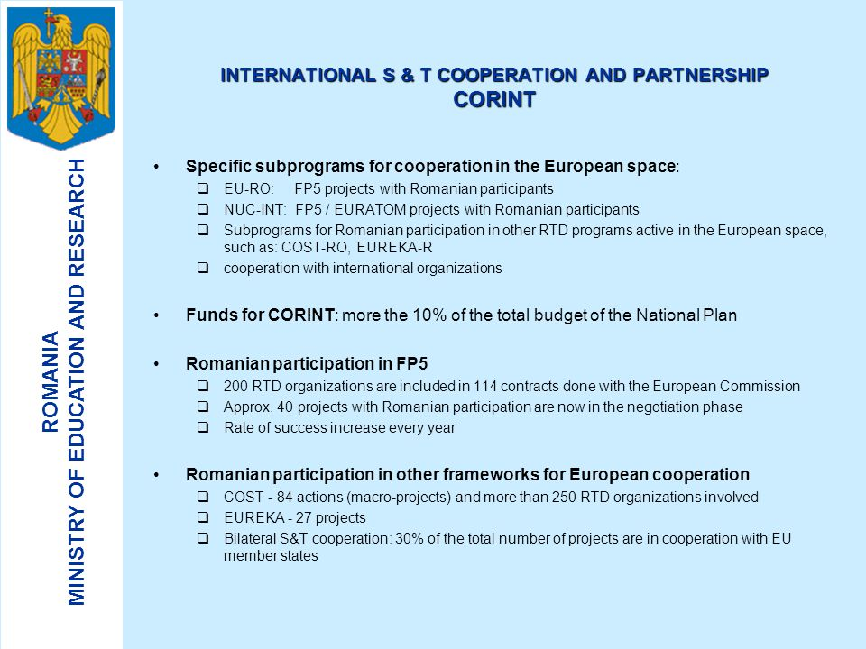 INTERNATIONAL S & T COOPERATION AND PARTNERSHIP CORINT