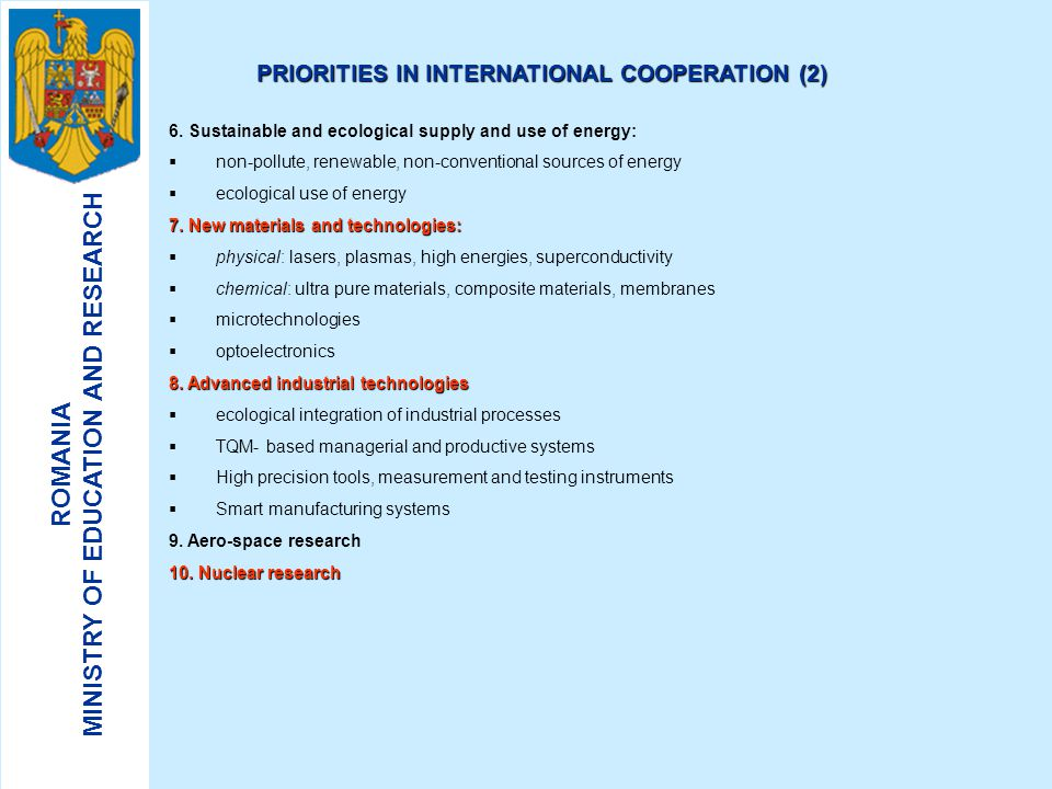 PRIORITIES IN INTERNATIONAL COOPERATION (2)