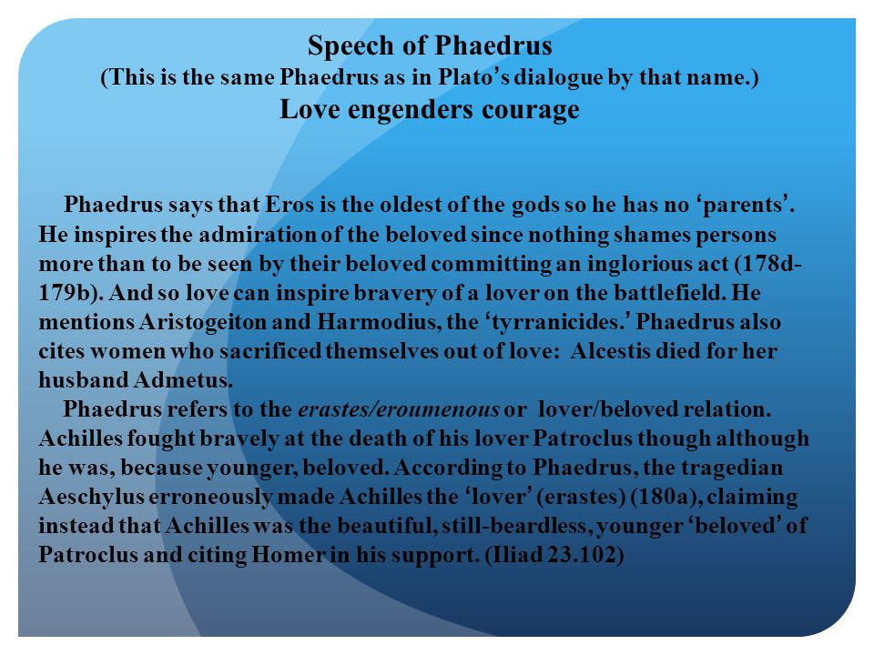 Speech of Phaedrus Love engenders courage