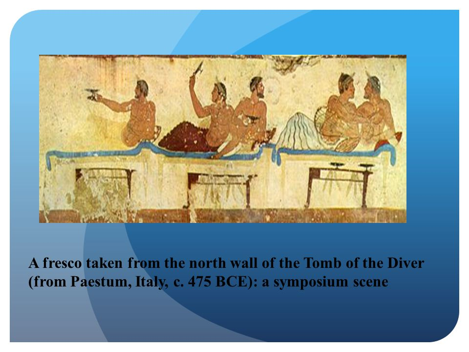 A fresco taken from the north wall of the Tomb of the Diver (from Paestum, Italy, c.