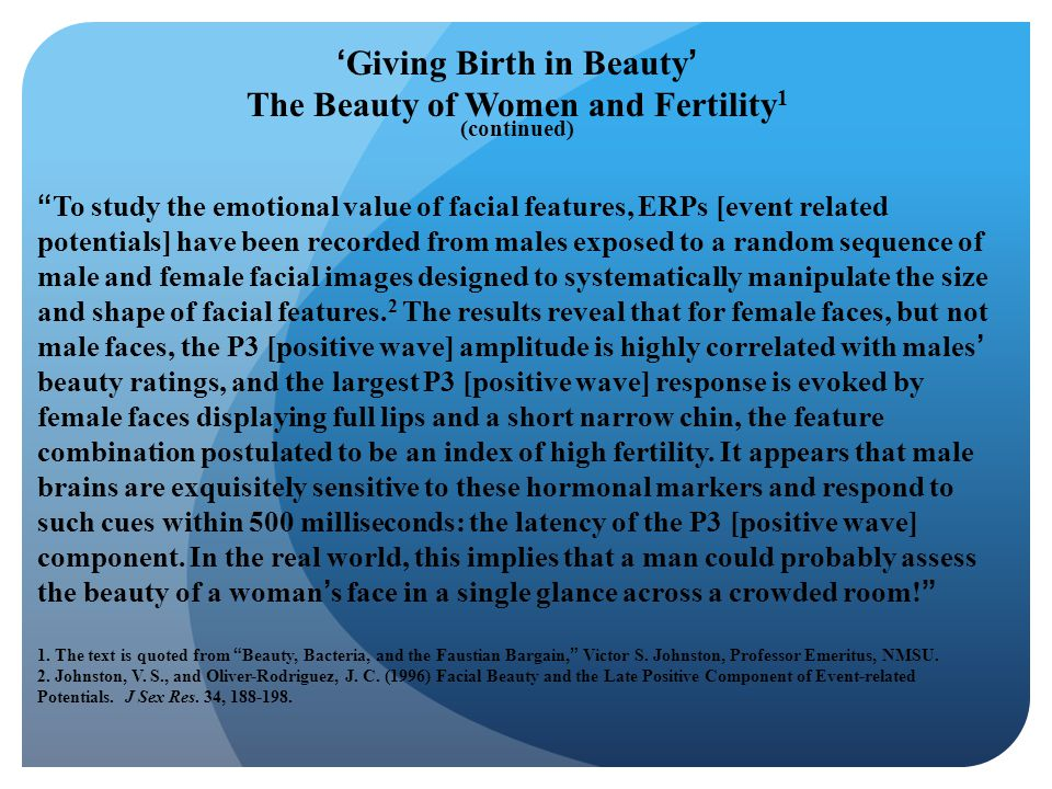 'Giving Birth in Beauty' The Beauty of Women and Fertility1