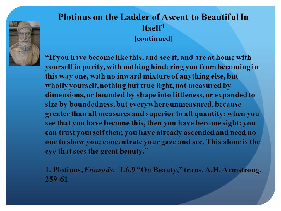 Plotinus on the Ladder of Ascent to Beautiful In Itself1